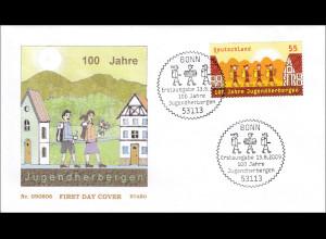 Bund BRD Ersttagsbrief FDC Michel Nr. 2753 100 Jahre Jugendherbergen