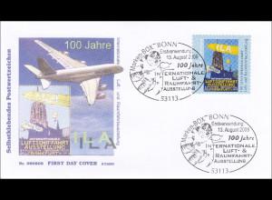 BRD Ersttagsbrief FDC Michel Nr. 2755 Luft- und Raumfahrtausstellung slk Rolle