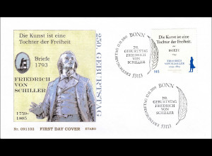 BRD Ersttagsbrief FDC Michel Nr. 2765 250. Geburtstag von Friedrich von Schiller