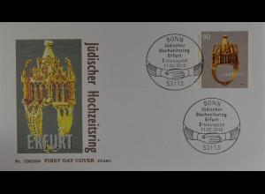 Bund BRD Ersttagsbrief FDC Michel Nr. 2784, Hochzeitsring aus d.jüdischen Schatz
