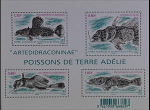 Französische Gebiete i.d. Antarktis TAAF 2016 Block 49 Fische Meeresbewohner
