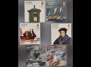 Großbritannien 2016 Michel Nr. 3843-48 500 Jahre Britische Post Postmeister Tuke