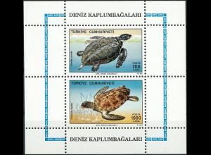 Türkei Block 28 Zwei Meeresschildkröten die Schuppenschildkröte