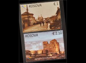 Kosovo 2016 Nr. 328-29 Städte im Kosovo Vushtrria Stadtansicht Burg bei Nacht