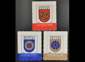 Lettland Latvia 2016 Nr. 972-74 Freimarkenserie Wappen Alsunga Beverina Smitene
