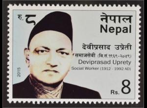 Nepal 2015 Michel Nr. 1210 Deviprsad Uprety berühmte Person