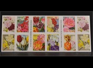 USA 2016 Nr. 5218-27 Botanical Art Booklet Tulpen Rosen Nelken Markenheft
