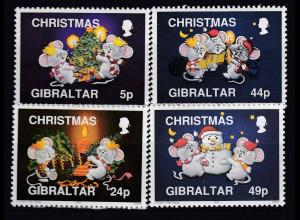 Gibraltar 1993 Michel Nr. 679-82 Mäuse feiern Weihnachten