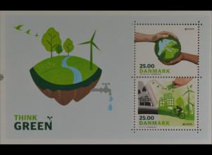 Dänemark Denmark 2016 Block 63 Europa Ökologie Think Green Umweltbewußtsein