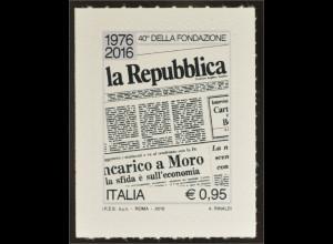 Italien Italy 2016 Michel Nr. 3876 40 Jahre Zeitung La Repubblica Spitzenprodukt