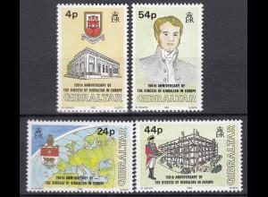 Gibraltar 1992 MiNr. 646-49 Diözese Gibraltar Bischof Tomlinson Europa Wappen