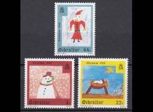 Gibraltar 1988 Mi. Nr. 560-62 Weihnachten Kinderzeichnungen Krippe Stern