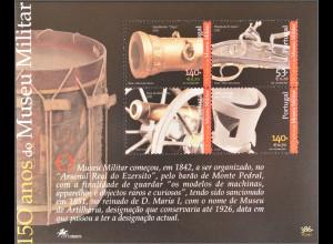 Portugal 2001 Block 171 150 Jahre Militärmuseum Kanone Gewehr Trommel Waffen
