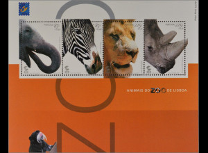 Portugal 2001 Block 172 Tiere aus dem Zoo Lissabon Elefant Zebra Löwe Nashorn