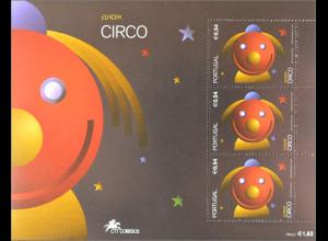 Portugal 2002 Block 176 Europa Europaausgabe zum Thema Zirkus Clownmotiv