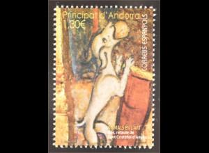 Andorra spanisch 2016 Michel Nr.436 Tiere auf Gemälden Hund Gemäldeausgabe Kunst