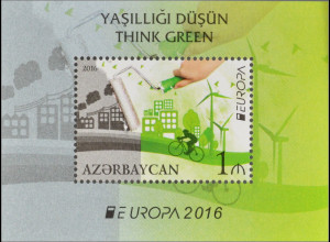 Aserbaidschan 2016 Block 164 A Europaausgaben Think Green Ökologie Block