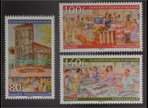 Polynesien französisch Polynesie Francaise 2016 Michel Nr. 1307-09 Marktstände