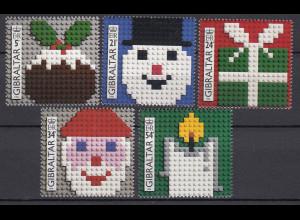 Gibraltar 1996 Michel Nr 778-82 Aus Legosteinen gebaute Weihnachtsmotive Lego