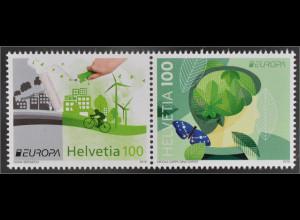 Schweiz 2016 Michel Nr. 2452-53 Europa Think Green Umweltbewußt leben Ökologie
