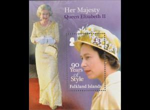 Falkland Inseln 2016 Block 50 90. Geb. Queen Elisabeth II. Für Royal Fans Block