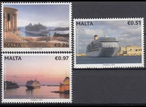 Malta 2013 Michel Nr. 1819-21 Europäischer Tag der Meere Kreuzfahrtschiffe