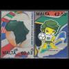Malta 2010 Michel Nr. 1644-45 Fußball-Weltmeisterschaft Südafrika Zakumi