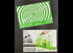 Dänemark Färöer 2016 Nr. 859-60 Europa Umweltbewußt leben Ökologie Think Green