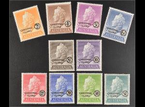 Christmas Island Weihnachtsinseln 1958 Michel Nr. 1-10 Königin Elisabeth II