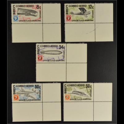 Kuba 1955 Michel Nr. 467-71 Briefmarkenausstellung Havanna Flugzeuge Zeppelin