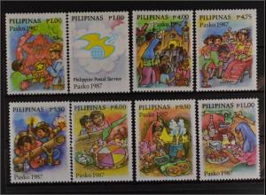 Philippinen 1987 Michel Nr. 1821-28 Weihnachten Kinder Festtafel Feuerwerk