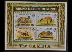Gambia 1976 Block 2 WWF Abuko Naturschutzgebiet Serval Schirrantilope Leopard