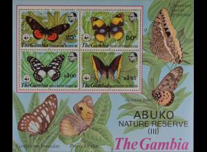 Gambia 1980 Block 5 WWF Abuko Naturschutzgebiet Acraea zetes Precis hierta