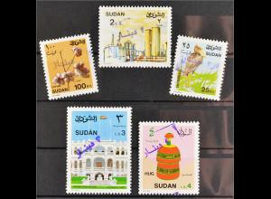 Sudan 1992 Michel Nr. 460-64 Freimarken mit Handstempel-Aufdruck