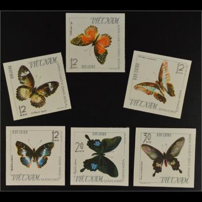 Vietnam Nord 1965 Michel Nr. 405-10 U Schmetterlinge ungezähnte Ausgabe