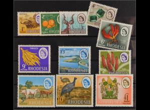 Rhodesien Rhodesia Simbabwe 1966 Michel Nr. 46-56 Elisabeth II Landesmotive