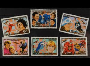 Zentralafrikanische Republik 1984 Michel Nr. 1062-67 Olympiasieger Sarajevo
