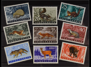 Jugoslawien 1960 MiNr. 917-25 Fauna Säugetiere Igel Wolf Eichhörnchen Rehbock