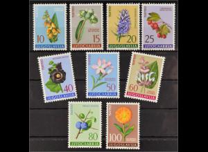 Jugoslawien 1961 MiNr. 943-51 Flora Gartenringelblume Weißdorn Stockmalve Ysop