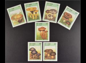 Vietnam 1987 Michel Nr. 1876-82 Pilze Mönchskopf Goldtäubling Erdritterling