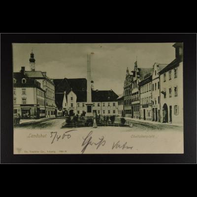 Historische Ansichtskarte Landshut Obeliskenplatz