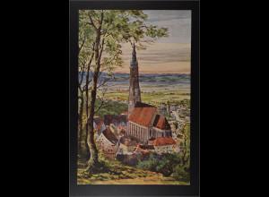 Ansichtskarte Blick auf St. Martinskirche Scheibenzuber Aquarell Künstlerkarte