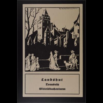 Ansichtskarte Landshut Trausnitz Wittelsbacherturm von Künstler R. Scheibenzuber