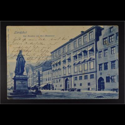 Ansichtskarte Landshut an der Isar Ndb. Altstadt Kgl. Residenz mit Max-Monument