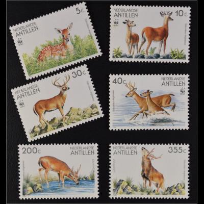 Niederländische Antillen 1992 Michel Nr. 739-44 WWF Weißwedelhirsch kpl. Satz