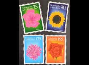 Niederländische Antillen 1993 Michel Nr. 768-71 Hibiscus Sonnenblume Ixora Rose