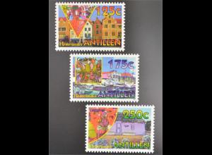 Niederländische Antillen 1995 Nr. 824-26 Karneval Handelshäuser Willemstad