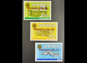 Niederländische Antillen 1995 Michel Nr. 843-45 Für Opfer des Wirbelsturmes Luis