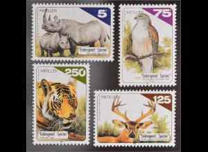 Briefmarken Spitzmaulnashorn Weißschwanzbussard Weißwedelhirsch Tiger