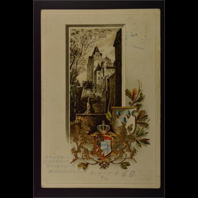 Ansichtskarte Landshut Ndb. Wappen Prägedruck Burg Trausnitz Wittelsbacherturm